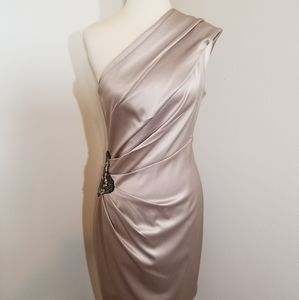 {Eliza J} Beige One Shoulder Evening Dress